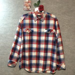 NWOT. ROCAWEAR Red white and blue PLAID SHIRT XL